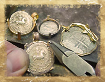 Each coin is custom framed into a variety of distinct gold or silver jewelry