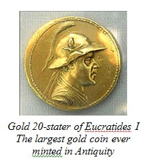 Gold 20-stater of Eucratides I - The largest gold coin ever minted in Antiquity