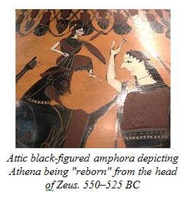 Attic black-figured amphora depicting Athena being