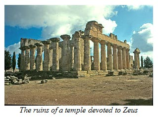 The ruins of a temple devoted to Zeus