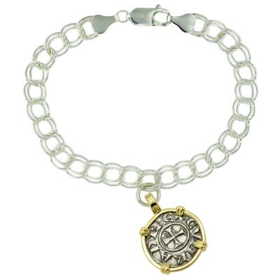 Italian 1139-1252, Crusader coin on silver charm bracelet
