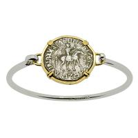 Greek 57-35 BC, King Azes I and Athena tetradrachm in 14k gold bezel on silver bracelet.