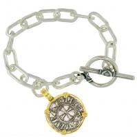 #9129 Crusader Cross Denaro Charm Bracelet