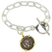 Roman Empire AD 332-333, Constantinopolis and Victory nummus in 14k gold bezel on silver charm bracelet.
