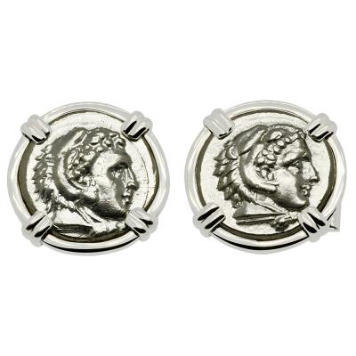 328-323 BC Lifetime Alexander the Great Coin white gold cufflinks.