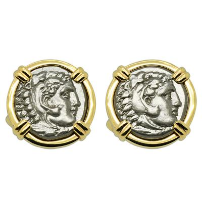 330-323 BC, Alexander the Great coin gold cufflinks