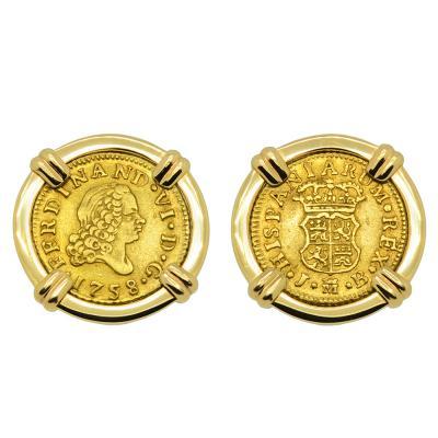 King Ferdinand VI Half Escudo Cufflinks