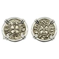 Italian 1139-1252, Crusader Cross denaro in 14k white gold cufflinks.
