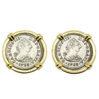 Spanish 1/2 reales dated 1783 in 14k gold cufflinks, The 1784 shipwreck that changed America.