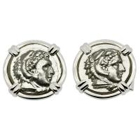 Greek 328-323 BC Lifetime Issues, Alexander the Great drachms in 14k white gold cufflinks.