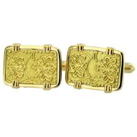 Japanese Shogun 1859-1869 gold nibu-kin in 14k gold cufflinks.