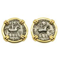 Greek 35-12 BC, King Azes II and Zeus drachms in 14k gold cufflinks.