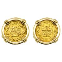 Portuguese 400 Reis dated 1719 and 1734, in 14k gold cufflinks.