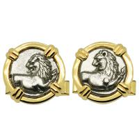 Greek 386-338 BC, Lion hemidrachms in 14k gold cufflinks.