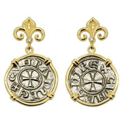 Italian 1139-1252, Crusader Cross coins in 14k gold earrings with diamonds.