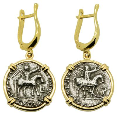 Greek 35-12 BC, King Azes II and Zeus coins in 14k gold earrings.