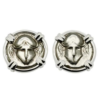 Greek Helmet coin white gold earrings.