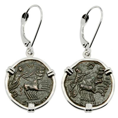 Constantine and the Hand of God coins in white gold earrings.