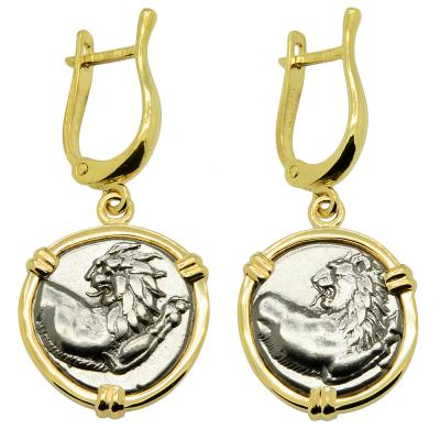 Greek 386-338 BC Lion coins in gold earrings.