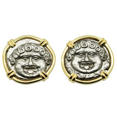 425-375 BC, Gorgon drachm coins in gold earrings