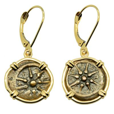Holy Land 103-76 BC, Widow's Mites in gold earrings