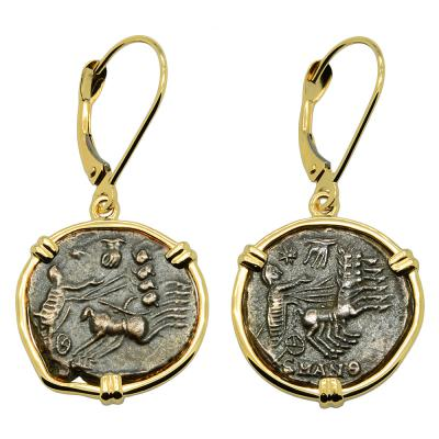 Antioch Constantine Hand of God coins in gold earrings