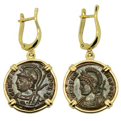 Roman 332-333 Constantinopolis coins in 14k gold earrings.