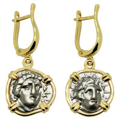 170-150 BC Sun God Helios coins in gold earrings
