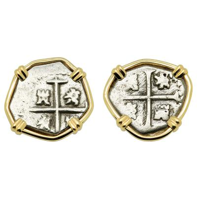 1627 and 1651 Spanish 1/2 reales in gold earrings