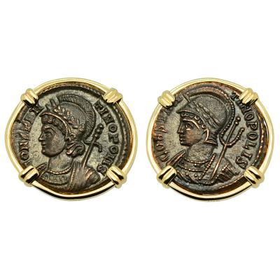 AD 332-333 Constantinopolis coins in gold earrings
