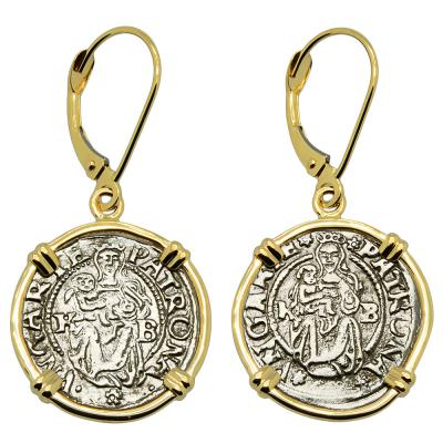 1539 and 1541 Madonna and Child coins in gold earrings