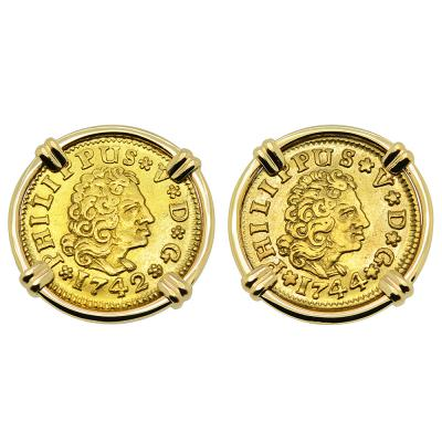 1742 and 1744 half escudos in gold earrings
