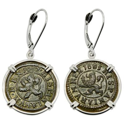 1607 and 1603 Spanish maravedis in white gold earrings