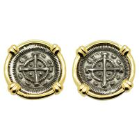 Hungarian 1131-1141, King Bela II Crusader Cross denar in 14k gold earrings.
