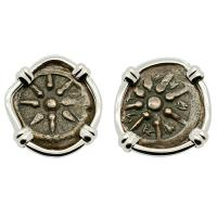 Holy Land 103-76 BC, Biblical Widow's Mites in 14k white gold earrings.