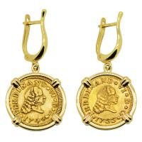 Spanish King Ferdinand VI 1749 and 1755, half escudos in 14k gold earrings.