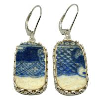 British Pottery Artifact in silver earrings, (1775 - 1815) Eastern Caribbean Sea Shipwreck.
