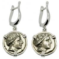 Greek 340-170 BC, Nymph Histiaia tetrobols in 14k white gold earrings.