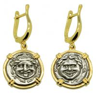 Greek 350-300 BC, Gorgon and Bull hemidrachms in 14k gold earrings.