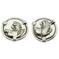 Greek 386-338 BC, Lion hemidrachms in 14k white gold earrings.