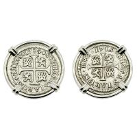 Spanish King Philip V 1/2 reales dated 1719 and 1734, in 14k white gold earrings