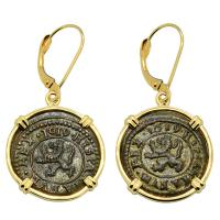 Spanish King Philip III 2 maravedis dated 1619, in 14k gold earrings