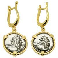 Greek 386-338 BC, Lion hemidrachms in 14k gold earrings.