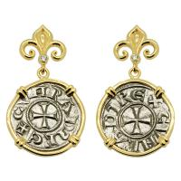 Italian 1139-1252, Crusader Cross denaro in 14k gold earrings with diamonds.