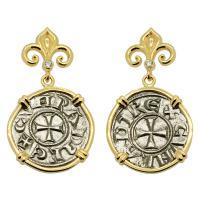 Crusader Cross Denaro Earrings