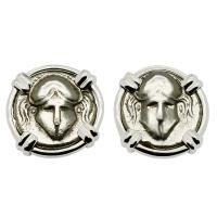 Greek 450-350 BC, Corinthian Helmet diobols in 14k white gold earrings.