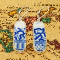 British Pottery Artifact in silver earrings, (1800 - 1820) Eastern Caribbean Sea Shipwreck.