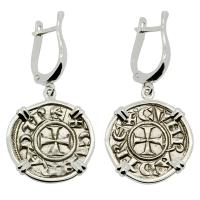Italian 1139-1252, Crusader Cross denaro in 14k white gold earrings.