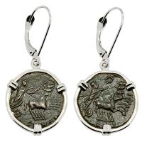 Roman AD 337-340, Constantine the Great coins in 14k white gold earrings.