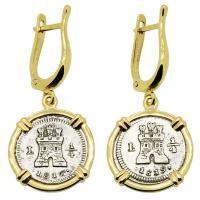 Spanish King Ferdinand VII 1/4 reales dated 1816 and 1819, in 14k gold earrings.